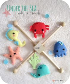 Ocean Baby Mobile- change jelly purple and orange crab