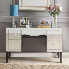 Mirrored Vanity Desk, Mirror Drawers, Storage Drawers, Mirrored Bedroom, Acme Furniture, Rustic Furniture, Bedroom Furniture, Furniture Removal, Furniture Design