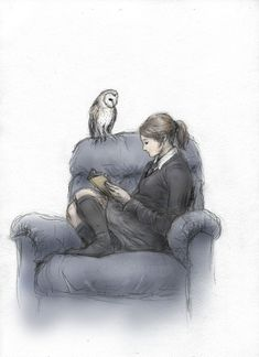 Ravenclaw by ejbeachy on deviantART (I LOVE THIS) -I find this great because on pottermore I was placed into Ravenclaw and this is literally how you can find me sitting most of the time. Just on a couch, not a chair, lol.
