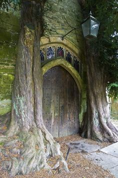 Yew Tree ---- St Edward's Church, Stow-on-the-Wold, flanked by ancient yew trees. Abandoned Places, Abandoned Buildings, Abandoned Mansions, Beautiful Buildings, Beautiful Places, Doorway, Belle Photo, Medieval, Places To Go