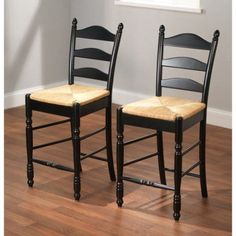 Ladder Back Rush Seat Counter Stools 24 inch, Set of 2, Multiple Colors, Black