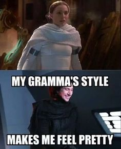 Kylo has his grandfathers determination and his grandmothers fashion sense :D - Star wars - Amour Star Wars, Star Wars Witze, Star Wars Jokes, Star Wars Facts, Star Wars Ships, Star Wars Fan Art, Star Wars Kylo Ren, Star Wars Trivia, Humor Nerd
