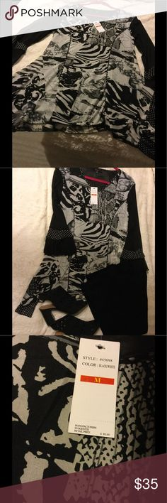 NWT- Boutique Black and Gray Shark-bite Shirt NWT beautiful boutique shark-bite shirt. Just in time for fall! Pair with black pants or jeans! Tops Blouses