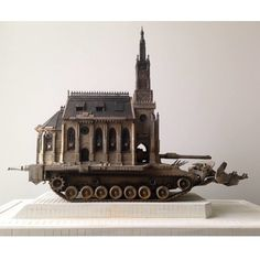 """This weekend, Kris Kuksi Art (first covered in HF Vol. 19) will unveil his new sculpture """"Churchtank type 12"""" at Morbid Anatomy Museum, curated by Stephen Romano Gallery. Check out more works from the show: http://hifructose.com @kriskuksi #sculpture #hifructose #art @stephen_romano_gallery"""