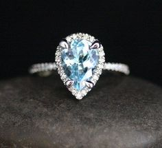 High End Aquamarine Engagement Ring in 14k