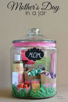 Mother's Day in a jar. The jar filled with love is universally loved and will brighten her day. http://hative.com/creative-diy-holiday-gift-ideas-for-parents-from-kids/
