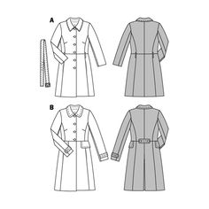 redefined classic designs, two different looks. the new naturalness of a poplin coat or the compelling variant with eye-catching web-print and rearward box pleat. both will find their lover. Burda Patterns, Coat Patterns, Blouse Patterns, Clothing Patterns, Skirt Patterns, Coat Pattern Sewing, Sewing Coat, Jacket Pattern, Pattern Drafting