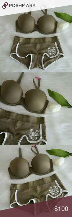 Hold New Pink Vs Lightly lined  Bra & boyshort Set Brand new pink victoria's secret lightly lined + Logo Boyshort.  Color Olive Green.  Bra size 32D.  Underwire  Boyshort Size S,M,L  Smoke and pet free home.  Fast shipping + extra gift. I don't trade hun.   AVAILABLE. PINK Victoria's Secret Intimates & Sleepwear Bras