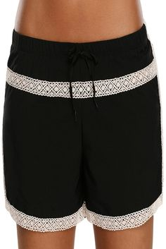 ae79e2e58f Women Lace Trim Black Drawstring Swim Trunks Tankini Bottoms Beach Wear Board  Shorts