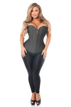 Fullbust corset made of premium denim fabric. Premium YKK front metal zipper closure. 8 spiral steel bones with 4 static back bones and 4 static front bones. 100% Cotton twill lining. 6' Modesty panel. Nickel brass grommets with thick cording in the back for cinching. Hand Wash Only