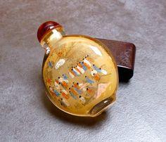 Vintage Chinese Reverse Painted Ornamental Opium Bottle