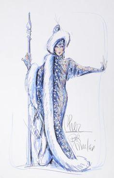 Bob Mackie sketch for Cher Bob Mackie, Paper Fashion, Fashion Art, Cher Costume, Costume Design Sketch, Concept Clothing, Hollywood Costume, Fashion Sketches, Fashion Illustrations