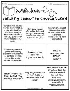 Reading Response Choice Boards (Fiction & Nonfiction) by The Meaningful Teacher Reading Strategies, Reading Skills, Teaching Reading, Reading Comprehension, Comprehension Strategies, Reading Activities, Guided Reading, Professor, Reading Response Journals