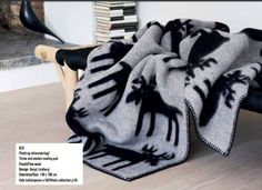 "Roros Tweed 100% Norwegian Lambswool Blanket Throw  ""Elg  Elk "" Design #RorosTweed #NorwegianModern"