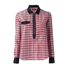 ISABEL MARANT Checked Zip Neckline Shirt (2,945 GTQ) ❤ liked on Polyvore featuring tops, red, red long sleeve top, long-sleeve shirt, collared shirt, long sleeve tops and red silk top