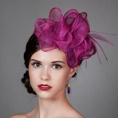 Sculpted Sinamay Fascinator in Magenta Hot Pink by millistarr 3a043c419ee