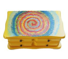 $34. HeidisTresureChest. 10x6x4. Tie Dye Boho Jewelry Box, Hand Painted In Bright Marigold Yellow. A.1/27/17. L.10/7/16.