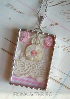 Fiona & The Fig Antique Victorian Lace Shadowbox Soldered Necklace Pendant Charm. $12.00, via Etsy.