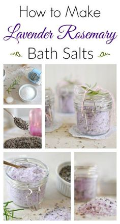 How to Make Lavender Rosemary Bath Salts, DIY and Crafts, Bath salts provide many therapeutic benefits. See how easy it is to make your own Lavender Rosemary Bath Salts and enjoy their restorative qualities. No Salt Recipes, Soap Recipes, Bath Recipes, Bath Salts Recipe, Homemade Bath Salts, Salt Scrub Recipe, Homemade Facials, Lavender Bath Salts, Diy Rosemary Bath Salts