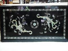 Black Lacquer Coffee Table Inlaid with Phoenix Beautiful Mother of Pearl    #Asian