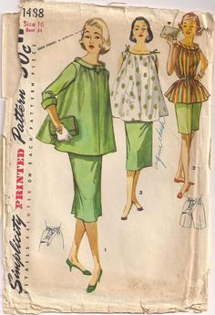 1964 Simplicity 1488 USED COMPLETE  3 Piece Maternity by Pinkalink, $20.00