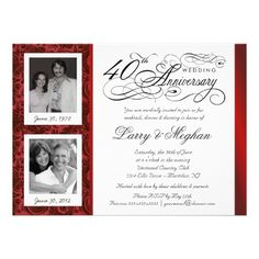 Fancy 40th Anniversary Invitations - Then  Now.  $2.55