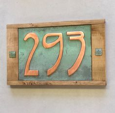 Art Nouveau House number, or Oak and Copper, 3 x nos - handmade for you. Patinated, polished and lacquered g House Number Plates, Ceramic House Numbers, Clay Houses, Ceramic Houses, Art Nouveau, Copper House, Pottery Houses, Number Art, Address Plaque