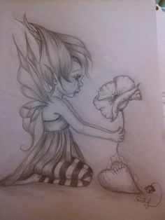 Fairy with flower Fairy Drawings, Fantasy Drawings, Pencil Art Drawings, Art Drawings Sketches, Fantasy Art, Elfen Tattoo, Fairy Sketch, Fairy Tattoo Designs, Fairy Art