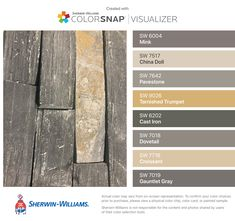 I found these colors with ColorSnap® Visualizer for iPhone by Sherwin-Williams: Mink (SW China Doll (SW Pavestone (SW Tarnished Trumpet (SW Cast Iron (SW Dovetail (SW Croissant (SW Gauntlet Gray (SW Cabinet Paint Colors, Interior Paint Colors, Paint Colors For Home, Interior Design, Brown Wood, Brown And Grey, Room Colors, House Colors, Paint Schemes