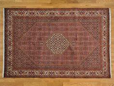 6.5' x 10' 300 kpsi Hand Knotted Rust Red Persian Bidjar Oriental Rug -