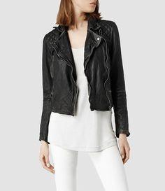AllSaints Cargo Leather Biker Jacket on shopstyle.com