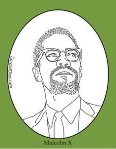 Malcolm X Clip Art, Coloring Page Or Mini Poster
