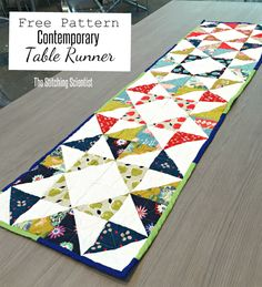 Contemporary Table Runner Pattern-The Stitiching Scientist:Remona All you need is 2 charm packs that has 16 charms in each pack or one large charm pack. This Melody Miller Picnic charm came with 16 each ... You will also need 1 charm pack or 40 squares of white fabric for the background. The dimensions came out to be about 64″ in length by 16″ wide.