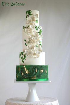 White and Green Malaquita Wedding Cake by Eva Salazar - http://cakesdecor.com/cakes/232419-white-and-green-malaquita-wedding-cake