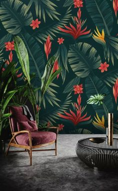 Red Floral Wallpaper Palm Leaf Wall Mural Vintage Flower Wall Art Exotic Home Decor Living Room Bedr Wallpaper Size, Pattern Wallpaper, Room Wallpaper, Wallpaper Ideas, Wall Murals Bedroom, Exotic Homes, Tropical Wallpaper, Palm Leaf Wallpaper, Floral Wall