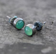 sterling silver and chrysoprase stud earrings by wildflowerdesigns, $22.00