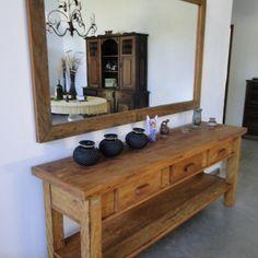 aparador e espelho rustica area externa madeira maciça bela rústica belarustica Peroba Rosa de demolição madeira de verdade