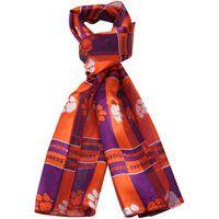 Clemson Tigers Ladies Orange-Purple Checkered Satin Scarf - only $6.95!!
