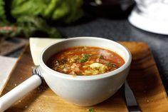 lentil soup with vegan sausage, chard, garlic-smitten kitchen Lentil Sausage Soup, Veggie Sausage, Lentil Soup, Kale Soup, Turkey Sausage, Chicken Sausage, Soup Recipes, Cooking Recipes, Healthy Recipes