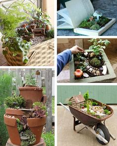A collage of fairy garden images