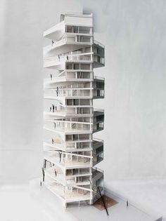 Image 11 of 11 from gallery of Writhing Tower / LYCS Architecture. Courtesy of LYCS Architecture Architecture Drawings, Architecture Design, Architecture Diagrams, Architecture Portfolio, Tower Models, 3d Modelle, Arch Model, Building Design, Design Model