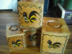 Vintage Canister Set Wooden Rooster French Country Cottage