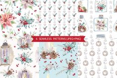 HOLLY JOLLY watercolor set by Lemaris on @creativemarket