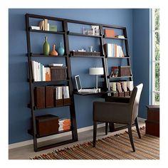white 61-inch ladder bookcase drop-down deskmonarch | ladder