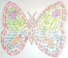 Lettertekening. Ook leuk om woorden erin te schrijven die met de tekening te maken hebben (bijvoorbeeld bij een vlinder: rups, cocon, blaadjes, kleuren enzovoort).