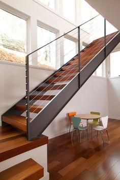 Best Hinged Steel Stair With Cable Rails Custom Metal 640 x 480