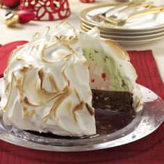 Spumoni Baked Alaska Recipe  Wouldn't this be pretty for Christmas dinner?  But I don't know if I would have the time during such a busy season.