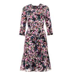 Erdem Darty park print dress (9,820 MXN) ❤ liked on Polyvore featuring dresses, day dresses, mat, vestido, multi-color dress, women dresses, silk dress, sleeve dress and three quarter sleeve dress