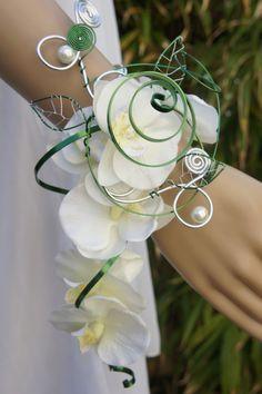 bracelet bouquet mariée - bracelet manchette - milystrass - Fait Maison