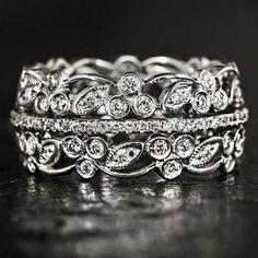 Vintage 1.25ct diamonds floralwide 14k art deco band cocktail ring retro estate | Diamond Engagement Rings